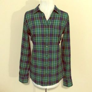 J. Crew green and blue plaid button down